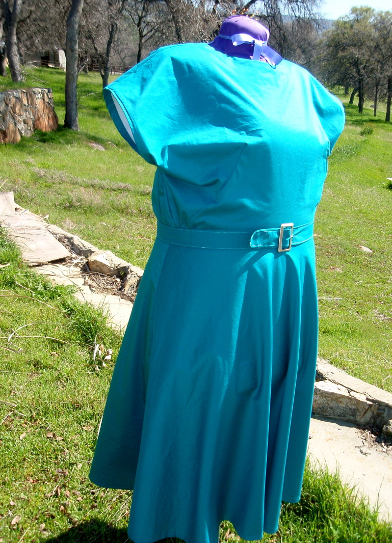 Peacock blue 1940 cotton dress