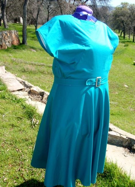 Peacock blue 1940 cotton dress