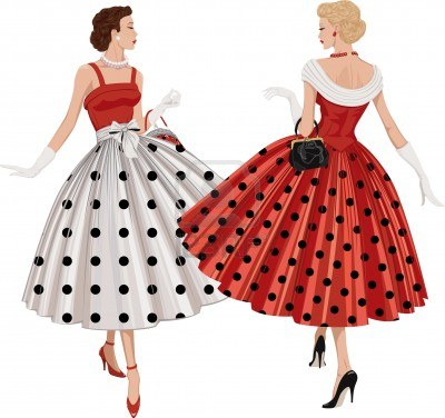 12409989-two-elegant-women-the-brunette-and-the-blonde-dressed-in-polka-dots-garments-inspect-each-other-pass
