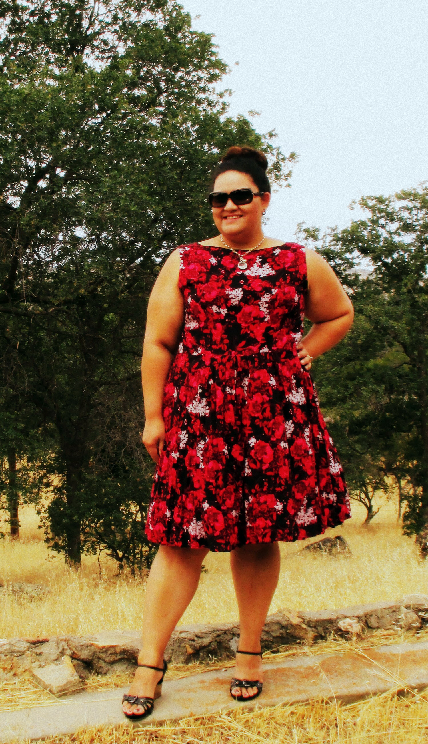 Red floral challis 1960s dress